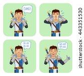 set of medieval knight... | Shutterstock .eps vector #443351530