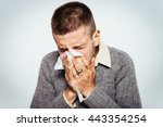 the man has a runny nose | Shutterstock . vector #443354254