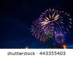 fireworks in sky twilight....   Shutterstock . vector #443355403