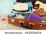 packed vintage suitcase for... | Shutterstock . vector #443356924
