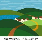 green landscape. farm houses... | Shutterstock .eps vector #443360419