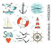 sea set of 9 nautical elements... | Shutterstock .eps vector #443362264