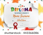 diploma template for kids ... | Shutterstock .eps vector #443366086