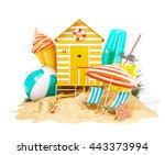 colorful retro beach hut  ... | Shutterstock . vector #443373994