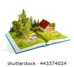 cute countryside log house in a ... | Shutterstock . vector #443374024