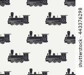 seamless pattern with retro... | Shutterstock .eps vector #443376298