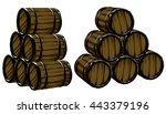 set of  barrels for beer ... | Shutterstock .eps vector #443379196