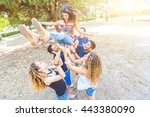 group of friends throwing a... | Shutterstock . vector #443380090
