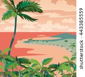 vector sunset tropic beach with ... | Shutterstock .eps vector #443385559