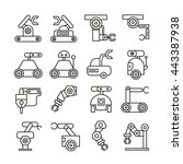 robotic arm icons set ... | Shutterstock .eps vector #443387938