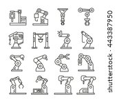 robotic arm icons set ... | Shutterstock .eps vector #443387950