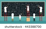 many scientists are thinking... | Shutterstock .eps vector #443388700