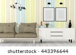 colorful wall painting and... | Shutterstock . vector #443396644