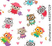 cute seamless pattern with... | Shutterstock .eps vector #443397229
