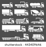 vector trucks icons set on grey ...