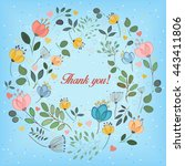 watercolor flowers. floral ring.... | Shutterstock . vector #443411806