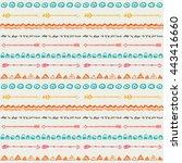tribal hand drawn background ... | Shutterstock .eps vector #443416660