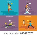 family with kids concept flat... | Shutterstock .eps vector #443422570