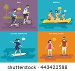 family with kids flat vector... | Shutterstock .eps vector #443422588