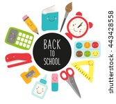 cute childish back to school... | Shutterstock .eps vector #443428558