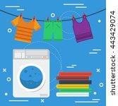 vector square banner laundry... | Shutterstock .eps vector #443429074