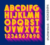 alphabet acid colors letters... | Shutterstock .eps vector #443435494