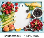 healthy summer fruit variety.... | Shutterstock . vector #443437003