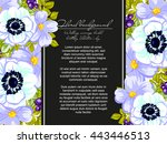 invitation with floral... | Shutterstock .eps vector #443446513
