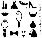 beauty and fashion icons set.... | Shutterstock .eps vector #443446978