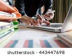 a businessman hand holding... | Shutterstock . vector #443447698