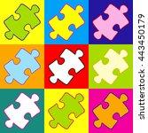 puzzle piece flat icon. pop art ...