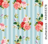 seamless floral pattern three... | Shutterstock .eps vector #443455378