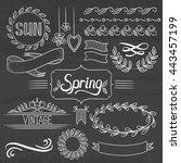 set of vintage labels  ribbons  ... | Shutterstock .eps vector #443457199