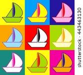 sail boat sign. pop art style... | Shutterstock . vector #443463130
