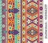 folk flower vector border   Shutterstock .eps vector #443466259
