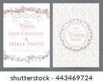 vintage wedding invitation... | Shutterstock .eps vector #443469724