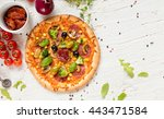delicious pizza with... | Shutterstock . vector #443471584