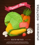 fruits background in flat style.... | Shutterstock .eps vector #443474566