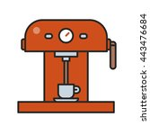 red professional coffee machine ... | Shutterstock .eps vector #443476684