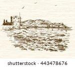 defensive tower in... | Shutterstock .eps vector #443478676
