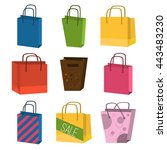 colorful paper shopping bags... | Shutterstock .eps vector #443483230