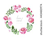 watercolor hand drawn floral... | Shutterstock . vector #443483974