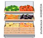 vector supermarket shelf with... | Shutterstock .eps vector #443485534