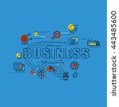 flat line design start for... | Shutterstock .eps vector #443485600