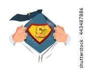 money man opening shirt to show ... | Shutterstock .eps vector #443487886