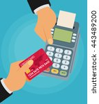 pay merchant hands credit card... | Shutterstock .eps vector #443489200