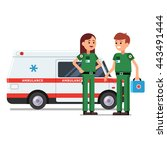two paramedics rescue team... | Shutterstock .eps vector #443491444