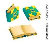 set of cartoon green book from...