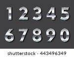 vector metal numbers.set of... | Shutterstock .eps vector #443496349