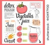 food sketchbook with detox... | Shutterstock .eps vector #443497930
